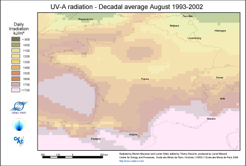 France Solar Radiation UV-A