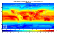 Yearly Mean of UV Solar Radiation in the World